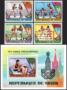 Niger 484-487,488 S/S, MNH. Pre-Olympic,Moscow.Boxers,Flame,Olympic Emblem, 1979