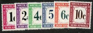 South Africa, Scott #J45-51, Complete Set Unused, Hinged