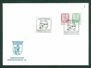 Finland. Cover 1986. Lappeenranta Cow. Special Cancel. 0.30 + 1.30 Lions.