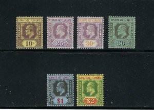 STRAITS SETTLEMENTS SCOTT #116/118/120/122/124/126 1904 WMK 3 PARTIAL SET-MLH