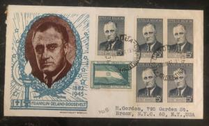 1946 Cordoba Argentina First Day Cover FDC To Bronx NY USA F Roosevelt