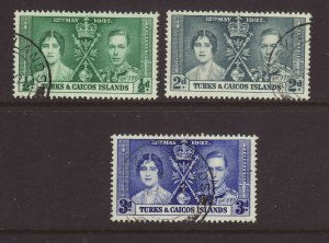 1937 Turks & Caicos Coronation Set Fine Used SG191/193.