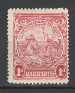 BARBADOS 1938 KGVI SEAHORSES 1D PERF 14