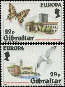 Gibraltar 1986 Sc 483-484 Bird Seagull Butterfly
