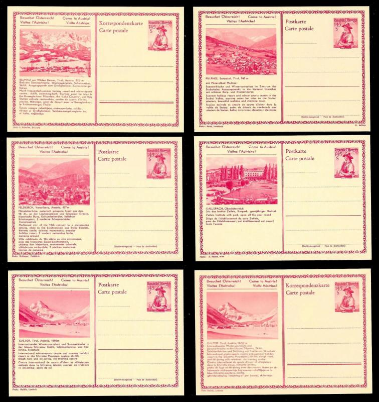 AUSTRIA (120) Scenery View Red 1.45 Shilling Postal Cards c1950s ALL MINT UNUSED