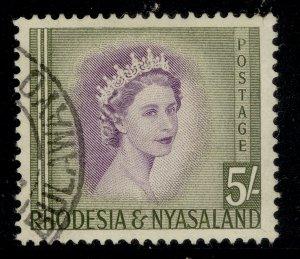 RHODESIA & NYASALAND QEII SG13, 5s violet & olive-green, FINE USED.