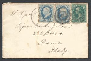 Scott 156(2), 158, Blatimore MD to Italy, Usages to Forei...