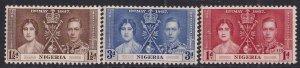 Nigeria 1937 KGV1 Set Coronation MM SG 46 - 48 ( T666 )