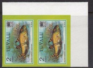 TUVALU^^^^^^1979 RARER  MNH  IMPERF PAIR ( FISHES) retail 70 Pounds@dccc251tuva