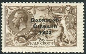 IRELAND-1927-8 2/6 Chocolate Brown FLAT ACCENT ON A  A mounted mint Sg 86c
