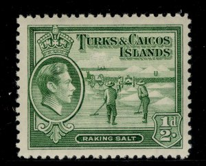 TURKS AND CAICOS ISLANDS GVI SG195, ½d yellowish-green, LH MINT.