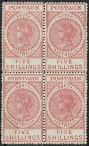 SOUTH AUSTRALIA 1904 QV THICK POSTAGE 5/- MNH ** BLOCK CERTIFICATE WMK CROWN SA