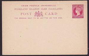 FALKLAND IS QV 1d postcard unused...........................................7432