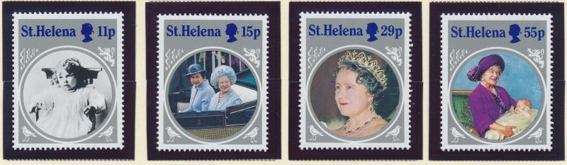 St. Helena Stamp Set Scott #428-31, Mint Never Hinged MNH, Queen Mother SS