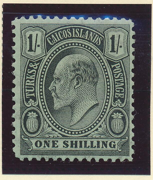 Turks and Caicos Stamp Scott #20, Mint Hinged, 1sh From 1905-8 - Free U.S. Sh...