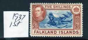 Falkland Islands George VI 5 37 Ptg. SG161 L / mit Scharnier, Geprüft Katze