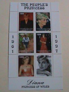 TURKMENISTAN STAMP: 1997- PRINCESS DIANA-THE BEAUTY OF  PRINCESS-MINT NH