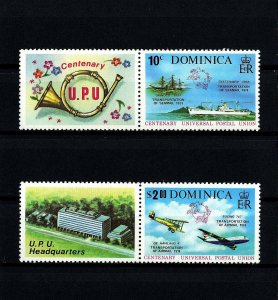 DOMINICA - 1974 - UPU - SHIPS - AIRCRAFT - MAIL TRANSPORT ++ MINT SET + LABELS!