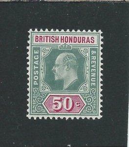 BRITISH HONDURAS 1904-07 50c GREY-GREEN & CARMINE MM SG 90 CAT £38