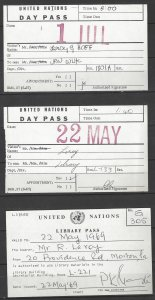 United Nations Library Pass, 2 Day Passes 1969