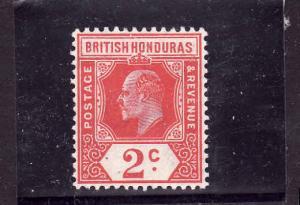 D3-British Honduras-Scott#72-Unused hinged-2c car KEVII-1909