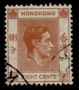 HONG KONG GVI SG144, 8c red-brown, FINE USED.