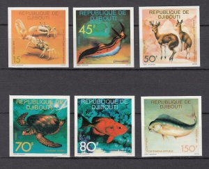 DJIBOUTI SC# 464-469 SEA LIFE -MNH -  IMPERF SET