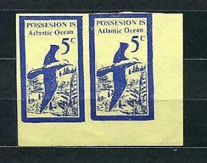 Possesion Islands (Poss isle) Bogus or Locals or Fantasy Imperf Pair Mint 3594