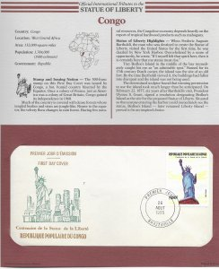 Statue of Liberty Congo 1986 FDC with write up.