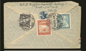 Chile C40 & C43 & C56 on Airmail to USA Cover Used