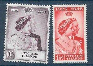 PITCAIRN ISLANDS SG11/12 1949 SILVER WEDDING MNH