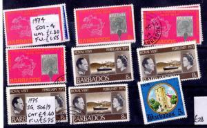 Barbados 1974/75 Sets x 9 Mint/VFU X6635