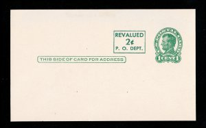 1952 REVALUED POSTAL CARD 2¢ ON 1¢ GREEN LINCOLN SCOTT #UX40 UNUSED