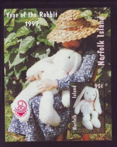 Norfolk Island Sc  672a 1999 Year of the Rabbit stamp sheet mint NH