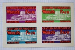 World's Fair Chicago 1933 Century of Progress Poster stamp block ad souvenir MNH