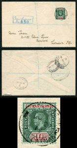 Cayman Is SG52 KGV 10/- Deep-green on Registered Ewens Cover Ex Marston