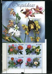 ST.THOMAS & PRINCE 2011 FLOWERS 2 SHEETS OF 2 & 4 STAMPS MNH