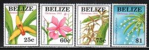 Belize # 1087-90 ~ Cplt Set of 4 ~ Orchids ~ Unused, HMR