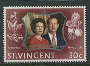 St Vincent - Scott 344 - Silver Wedding -1972 - MVLH - Single 30c Stamp