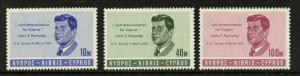 Cyprus 251-3a MNH John F. Kennedy