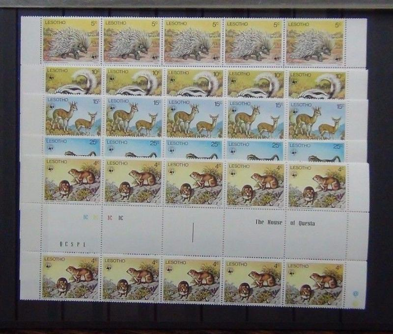 Lesotho 1977 Animals set in Gutter pairs strip of 5 (10 sets) Rare