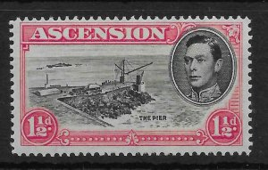 ASCENSION SG40db 1946 1d ROSE-CARMINE CUT MAST/RAILINGS VAR MTD MINT