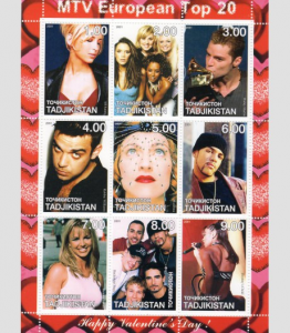 Tajikistan 2001 Happy Valentine's Day-MTV European Music Sheet Perforated MintNH