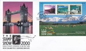 NZFD606) NZ 2000 London - The Stamp Show Souvenir Envelope M/S FDC