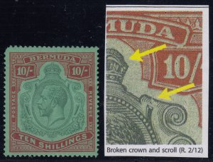Bermuda, SG 92gb, MLH (TL perf, gum bend) Broken Crown and Scroll variety