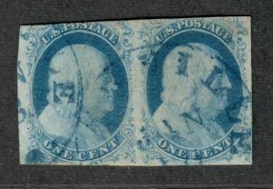 US Sc#7 Used, Pos 83R1e, Pair, Tiny Thin On Right Stamp, C.v. $275