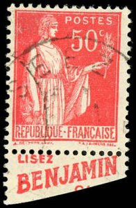 France 267 Used Advertisement Label - Type 1 - Benjamin