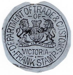(I.B) Australia Postal : Victoria Frank Stamp (Department of Trade & Customs)