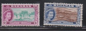 BAHAMAS Scott # 163-4 Used - QEII Water Sports & Modern Dairy