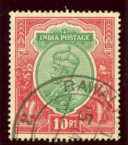 India 1913 KGV 10r green & scarlet very fine used. SG 189. Sc 86.